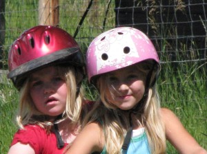 kids riding with helmets